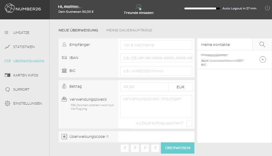 number26-online-banking-ueberweisung