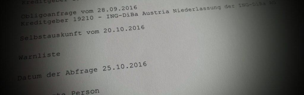 Obligoanfrage der ING-DiBa beim KSV 1870