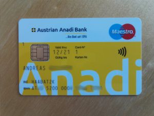 Die Vorderseite der Bankomatkarte der Anadi Bank