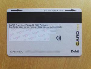 Die Rückseite der DADAT Bankomatkarte