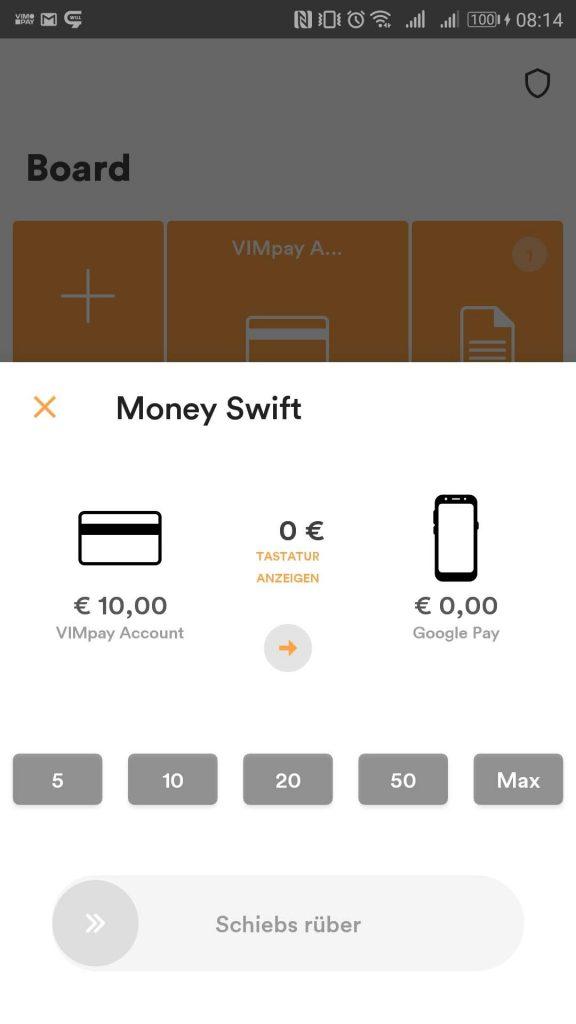 """Um das VIMPAY Guthaben in Google Pay nutzen zu können, muss das Guthaben per Money Swift zu Google Pay """"rübergeschoben"""" werden. Danach kann es dort verwendet werden."""