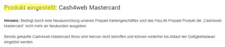 Cash4web ist eingestellt - die praktische Prepaid Karte